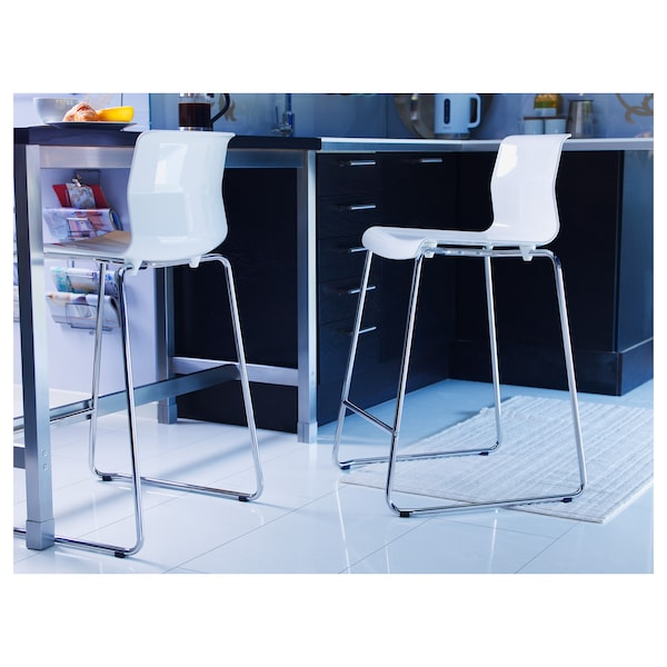 Glenn Bar Stool White Chrome Plated Ikea