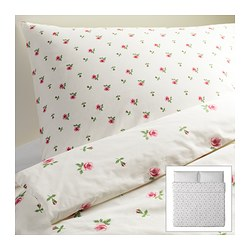 "EMELINA KNOPP duvet cover and pillowcase(s), pink, white Duvet cover length: 86 "" Duvet cover width: 102 "" Pillowcase length: 20 "" Duvet cover length: 218 cm Duvet cover width: 259 cm Pillowcase length: 51 cm"