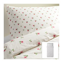 "EMELINA KNOPP duvet cover and pillowcase(s), pink, white Duvet cover length: 86 "" Duvet cover width: 64 "" Pillowcase length: 20 "" Duvet cover length: 218 cm Duvet cover width: 162 cm Pillowcase length: 51 cm"