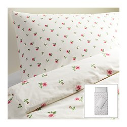 EMELINA KNOPP quilt cover and 2 pillowcases, pink, white Quilt cover length: 200 cm Quilt cover width: 150 cm Pillowcase length: 50 cm