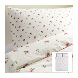 EMELINA KNOPP quilt cover and 2 pillowcases, pink, white Quilt cover length: 230 cm Quilt cover width: 200 cm Pillowcase length: 50 cm