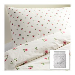 EMELINA KNOPP quilt cover and 4 pillowcases, pink, white Quilt cover length: 200 cm Quilt cover width: 200 cm Pillowcase length: 50 cm