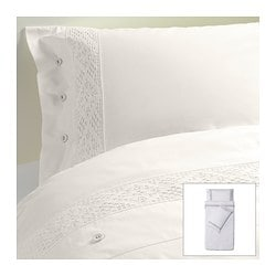 EMMIE SPETS quilt cover and 2 pillowcases, white Quilt cover length: 200 cm Quilt cover width: 150 cm Pillowcase length: 50 cm