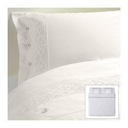 EMMIE SPETS quilt cover and 2 pillowcases, white Quilt cover length: 220 cm Quilt cover width: 240 cm Pillowcase length: 50 cm