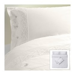 EMMIE SPETS quilt cover and 4 pillowcases, white Quilt cover length: 220 cm Quilt cover width: 240 cm Pillowcase length: 50 cm