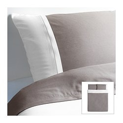 "FÄRGLAV duvet cover and pillowcase(s), gray/white Duvet cover length: 86 "" Duvet cover width: 86 "" Pillowcase length: 20 "" Duvet cover length: 218 cm Duvet cover width: 218 cm Pillowcase length: 51 cm"