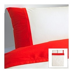 "FÄRGLAV duvet cover and pillowcase(s), red/white Duvet cover length: 86 "" Duvet cover width: 86 "" Pillowcase length: 20 "" Duvet cover length: 218 cm Duvet cover width: 218 cm Pillowcase length: 51 cm"