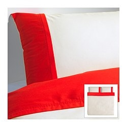 "FÄRGLAV duvet cover and pillowcase(s), red/white Duvet cover length: 86 "" Duvet cover width: 102 "" Pillowcase length: 20 "" Duvet cover length: 218 cm Duvet cover width: 259 cm Pillowcase length: 51 cm"