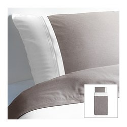 "FÄRGLAV duvet cover and pillowcase(s), gray/white Duvet cover length: 86 "" Duvet cover width: 64 "" Pillowcase length: 20 "" Duvet cover length: 218 cm Duvet cover width: 162 cm Pillowcase length: 51 cm"