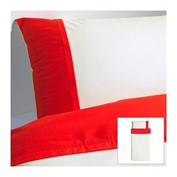 "FÄRGLAV duvet cover and pillowcase(s), red/white Duvet cover length: 86 "" Duvet cover width: 64 "" Pillowcase length: 20 "" Duvet cover length: 218 cm Duvet cover width: 162 cm Pillowcase length: 51 cm"