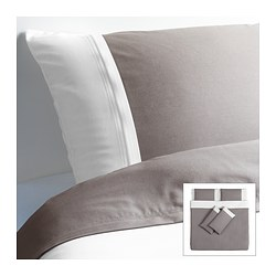 FÄRGLAV quilt cover and 4 pillowcases, grey/white Quilt cover length: 220 cm Quilt cover width: 240 cm Pillowcase length: 50 cm
