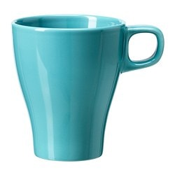 FÄRGRIK mug, turquoise Height: 11 cm Volume: 25 cl
