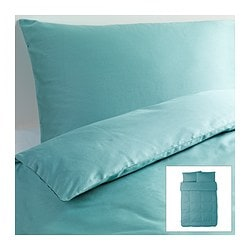"GÄSPA duvet cover and pillowcase(s), turquoise Duvet cover length: 86 "" Duvet cover width: 86 "" Pillowcase length: 20 "" Duvet cover length: 218 cm Duvet cover width: 218 cm Pillowcase length: 51 cm"