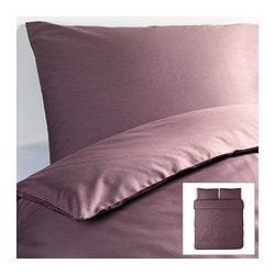 "GÄSPA duvet cover and pillowcase(s), dark lilac Duvet cover length: 86 "" Duvet cover width: 102 "" Pillowcase length: 20 "" Duvet cover length: 218 cm Duvet cover width: 259 cm Pillowcase length: 51 cm"