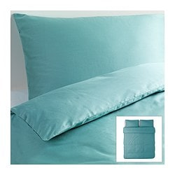 "GÄSPA duvet cover and pillowcase(s), turquoise Duvet cover length: 86 "" Duvet cover width: 102 "" Pillowcase length: 20 "" Duvet cover length: 218 cm Duvet cover width: 259 cm Pillowcase length: 51 cm"