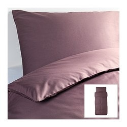 "GÄSPA duvet cover and pillowcase(s), dark lilac Duvet cover length: 86 "" Duvet cover width: 64 "" Pillowcase length: 20 "" Duvet cover length: 218 cm Duvet cover width: 162 cm Pillowcase length: 51 cm"