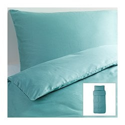 "GÄSPA duvet cover and pillowcase(s), turquoise Duvet cover length: 86 "" Duvet cover width: 64 "" Pillowcase length: 20 "" Duvet cover length: 218 cm Duvet cover width: 162 cm Pillowcase length: 51 cm"