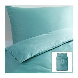 GÄSPA quilt cover and 4 pillowcases, turquoise Quilt cover length: 200 cm Quilt cover width: 200 cm Pillowcase length: 50 cm
