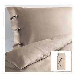 LINBLOMMA quilt cover and 2 pillowcases, natural colour Quilt cover length: 200 cm Quilt cover width: 150 cm Pillowcase length: 50 cm