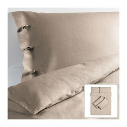 LINBLOMMA quilt cover and 4 pillowcases, natural colour Quilt cover length: 200 cm Quilt cover width: 200 cm Pillowcase length: 50 cm