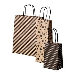 FRAMSTÄLLA gift bag, set of 3, assorted patterns black/natural