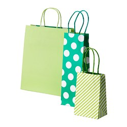FRAMSTÄLLA gift bag, set of 3, assorted patterns green