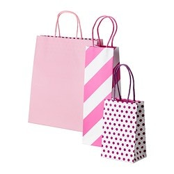 FRAMSTÄLLA gift bag, set of 3, assorted patterns pink