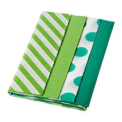 FRAMSTÄLLA tissue paper, assorted patterns green Length: 70 cm Width: 50 cm Package quantity: 16 pack