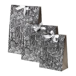 VÄXTGLÄDJE gift bag, set of 3, black/white