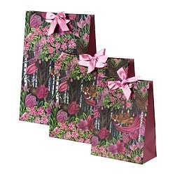 VÄXTGLÄDJE gift bag, set of 3, pink