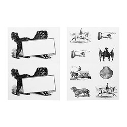 HISTORISK stickers, assorted designs black/white Package quantity: 10 pack