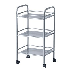 "DRAGGAN cart, silver color Length: 16 "" Width: 12 5/8 "" Height: 29 3/8 "" Length: 40.5 cm Width: 32 cm Height: 74.5 cm"