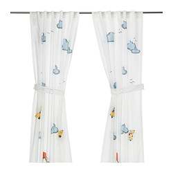 FLYGNING curtain with tie-back, white Length: 250 cm Width: 120 cm Package quantity: 2 pieces