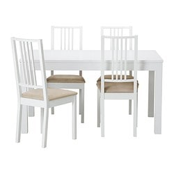 BJURSTA /  BÖRJE table and 4 chairs, Kungsvik sand, white Length: 180 cm Min. length: 140 cm Max. length: 220 cm