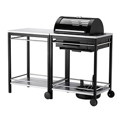 KLASEN gas barbecue with trolley, stainless steel Width: 144 cm Depth: 57 cm Height: 112 cm