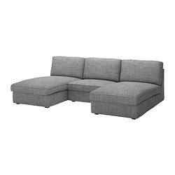KIVIK 2 chaise longues and armchair, Isunda grey Max. width: 270 cm Min. depth: 98 cm Max. depth: 163 cm