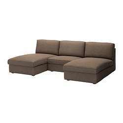 KIVIK 2 chaise longues and armchair, Isunda brown Max. width: 270 cm Min. depth: 98 cm Max. depth: 163 cm