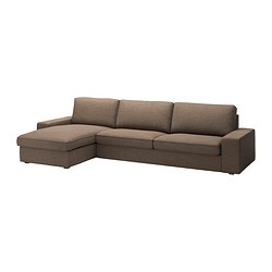 KIVIK three-seat sofa and chaise longue, Isunda brown Max. width: 318 cm Min. depth: 95 cm Max. depth: 163 cm