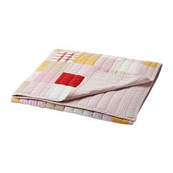LEKANDE bedspread, red, pink Length: 180 cm Width: 120 cm Filling weight: 240 g