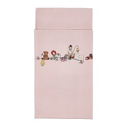 NANIG 3-piece bedlinen set for cot, pink Quilt cover length: 125 cm Quilt cover width: 110 cm Pillowcase length: 55 cm