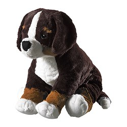 HOPPIG soft toy, dog black, white