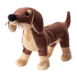 SMÅSLUG soft toy, dog, brown