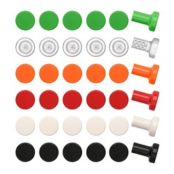 SÄTTA knob, assorted colours Depth: 30 mm Diameter: 24 mm Drilled hole diameter: 5 mm