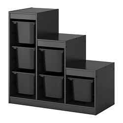 TROFAST storage combination with boxes, black Width: 99 cm Depth: 44 cm Height: 94 cm