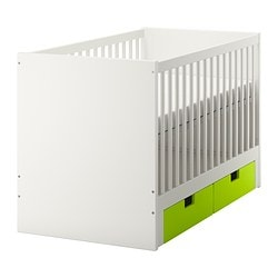 STUVA cot with drawers, green Bed width: 70 cm Bed length: 132 cm