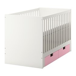 STUVA cot with drawers, pink Bed width: 70 cm Bed length: 132 cm