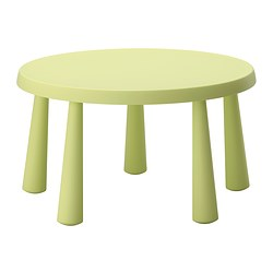 MAMMUT children's table, in/outdoor light green light green Height: 48 cm Diameter: 85 cm
