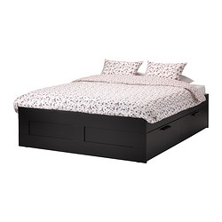 BRIMNES, Bed frame with storage, black, Leirsund