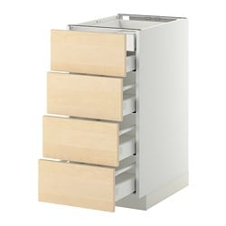 METOD /  MAXIMERA base cb 4 frnts/2 low/3 md drwrs, Haganäs birch, white Width: 40.0 cm Depth: 61.6 cm Frame, depth: 60.0 cm