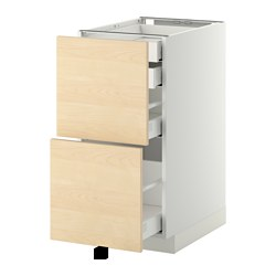 METOD /  MAXIMERA base cb 2 frnts/2 low/1 md/1 hi drw, Haganäs birch, white Width: 40.0 cm Depth: 61.6 cm Frame, depth: 60.0 cm